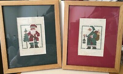 Cross Stitch Santas Professionally Framed