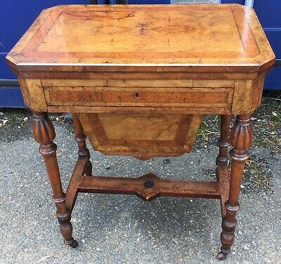 antique victorian Walnut Ladies Sewing Work Games  Table