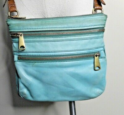 Fossil Explorer Mini Crossbody Leather Bag Heritage Blue SL3253928 New With Tag Clothing, Shoes & Accessories