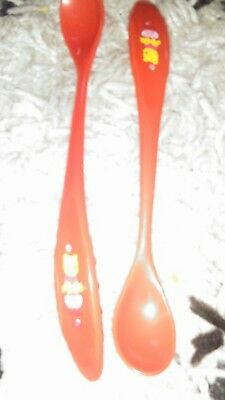 Disney Winnie The Pooh 2pk Long Baby Weaning Spoons. Red. Unisex. Fab condition