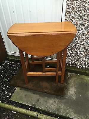 Small Golden Oak Antique Folding Occasional Table. Drop, Side, Coffee.
