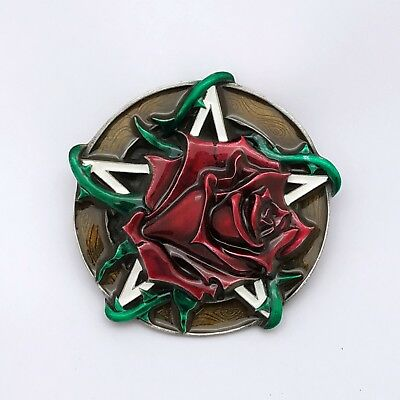 Red Rose 3D Authentic Belt Buckle Biker Rock Punk Heavy Metal Motorcyclist Girl