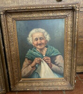 F. Vitale (Italian, 19th/20th century) Portrait of Old Woman O/C signed 18X22