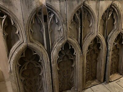 Rare 4 18Th Century Gothic Oak Carved Pew Ends Carved Scrolling Leaves .