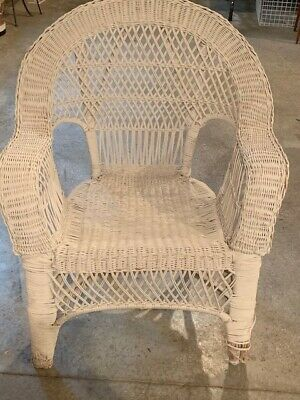 Antique White Wicker Chair - average condition