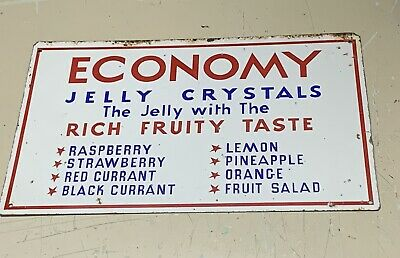 Economy Jelly Crystals Tin Sign General Store Grocery Advertising Sign