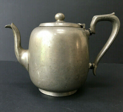 Porcelain Lined Antique Pewter Teapot by A. E. FURNISS, SHEFFIELD No. 2042
