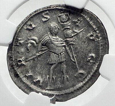 GALLIENUS Authentic Ancient Billon Silver Lyons 258AD Roman Coin NGC i80335