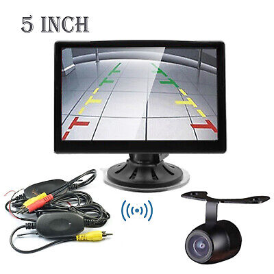 """Wireless 5"""" TFT LCD Car Rearview Reverse Stand Suction Cup Monitor Backup Camera"""