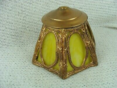 Antique ART DECO STAINED SLAG GLASS LAMP SHADE ORNATE METAL FRAME 1920'S Small