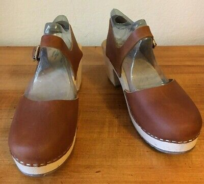 319fa52e788d5 LOTTA FROM STOCKHOLM Highwood Brown Leather Wooden Heel Closed Toe Size  9.5/41