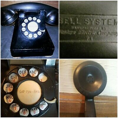 Vtg Bell System  Western Electric Black Rotary Phone