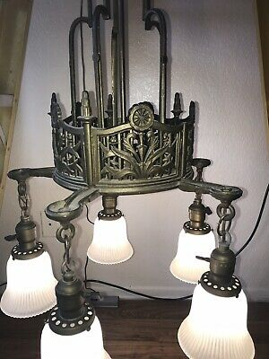Antique Sky Scraper Cast Iron Chandelier 5 Arm Ceiling Light Fixture  Art Deco
