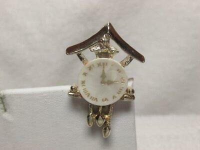 Vintage Mother Of Pearl Shell Gold Tone Cuckoo Clock Brooch