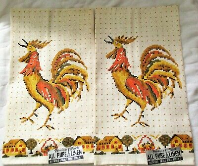 Vintage 2 NEW Parisian Print Pure Linen Kitchen Towels Rooster NOS tags tea dish