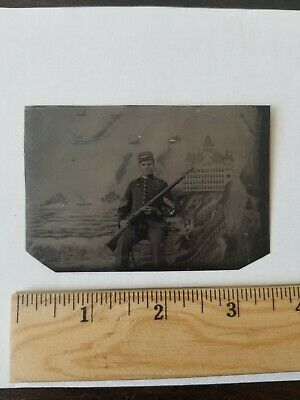 1898 San Francisco Spanish American War Soldier Cliff House Tin Type Photograph