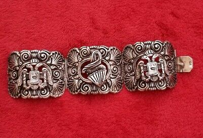 Vintage Early Mexican sterling silver 925 double eagle heavy Chunky bracelet