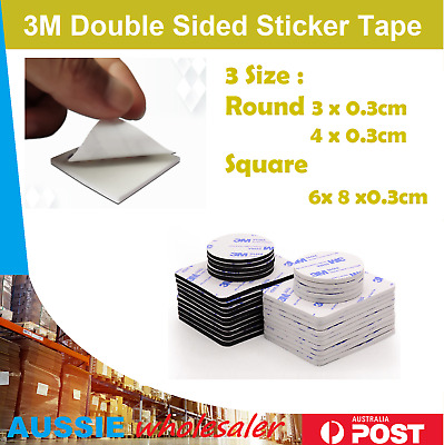 3M Double Sided Sticker Tape Side Wall Car Self Adhesive Pads Round Square AU