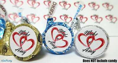 324 Custom Name Wedding Party Favor Stickers Hershey Kiss Kisses Labels Hearts