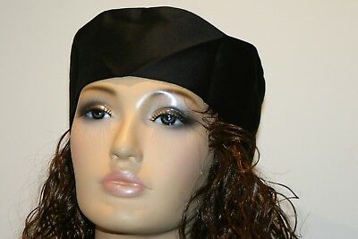 Black chefs adjustable rear strap  skull cap hat
