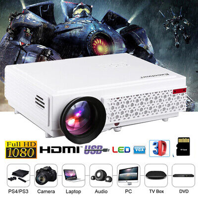 5000 Lumen 1080P Full HD 3D Potable LED Projector Home Movie Theater Multiscreen