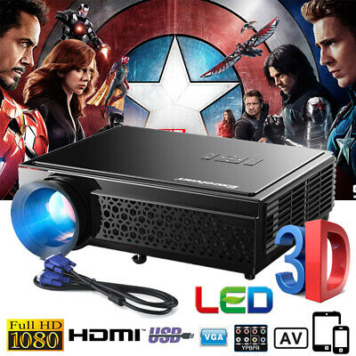 3D 1080P FULL HD 5000 Lumens LCD LED Projector Home Cinema Theater HDMI USB VGA