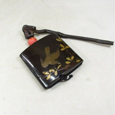 A767 Real Japanese old lacquered pillbox INRO with MAKIE and long SASHI-NETSUKE