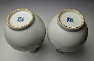 EXQUISITE ANTIQUE CHINESE PORCELAIN VASE PAIR Famille Rose China Qing Republican