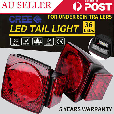 2x 36 LEDs Tail Lights Square Turn Signal Stop Indicator Lamp 12V Trailer Truck