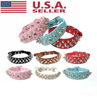 Small Medium Large Dog Dog Collar PU Leather Rivet Spiked Studded Pets Collars