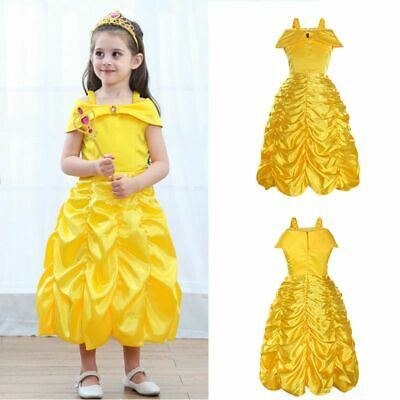 Beauty and The Beast Princess Belle Cosplay Costume Ball Gown Girls Fancy Dress