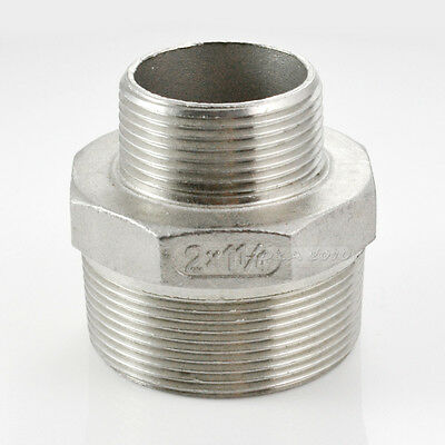 "2""x1-1/4"" Male to Male M/M Hex Nipple Threaded Reducer Pipe Fitting BSP SS 304"
