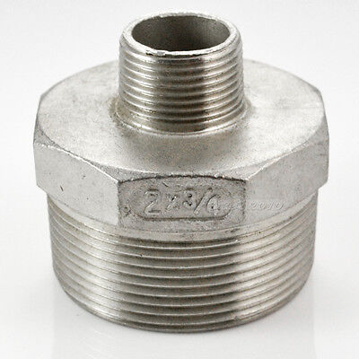 """2""""x3/4"""" Male to Male M/M Hex Nipple Threaded Reducer Pipe Fitting BSP SS 304"""