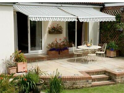 Garden Canopy Standard Waterproof Manual Patio Awning USED Multi Stripe 3.0 m