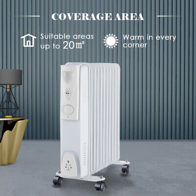 White Oil Filled Radiator Portable 2500W 11 Fin Electric Heater with Thermostat