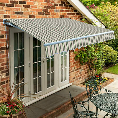 Garden Canopy Standard Manual Retractable Patio Awning USED Multi Stripe 2.5 m