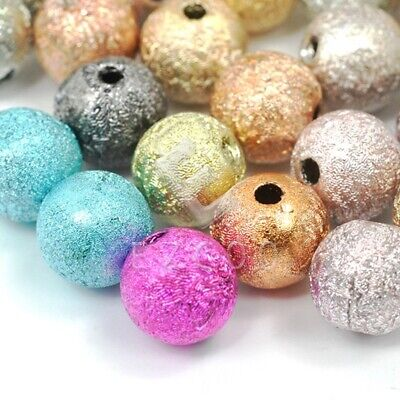 40/130pcs Round Acrylic Stardust Loose Beads DIY Jewellery Findings 8mm/6mm PW