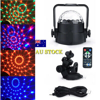 DC 3W 5V USB Powered RGB LED Stage Light Disco Ball Party Lamp Remote Controls