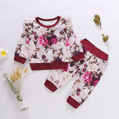 Newborn Kids Baby Girl Flower print Clothes Top T Shirt Pants Tracksuit Outfits