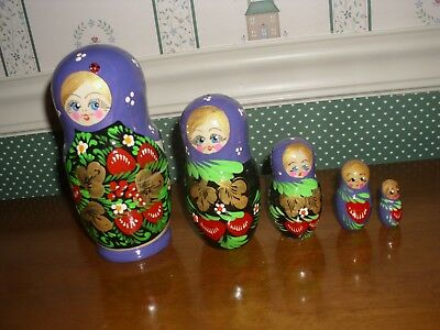"Gabriella's Gifts-6"" Russian Nesting Dolls 5Pc Set-D-Purple-As Shown New-2018"