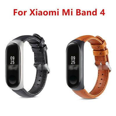 Fashion Leather Wristband + Cover Metal Frame Repalcement For Xiaomi Mi Band 4