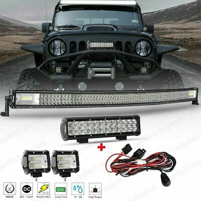 """Offroad 52inch CREE LED Work Light Bar + 20'' + 4"""" Pods For  Driving Truck SUV"""