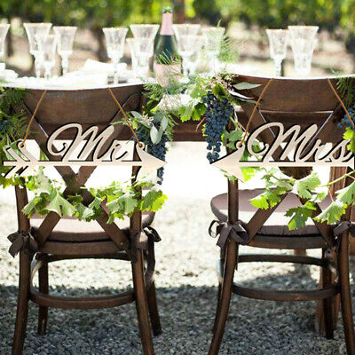 1Pair Mr & Mrs Arrow Signs Wedding Party Chair Decor Rustic Wood Wedding Sign~GN