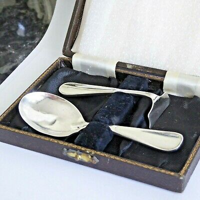 Art Deco Solid Silver Baby Toddler Infant Feeding Set Spoon Pusher Hm Birm 1920