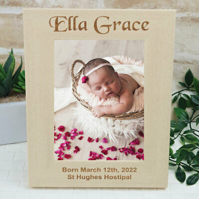 Baby Engraved Wood Photo Frame - Unique Baby Gift