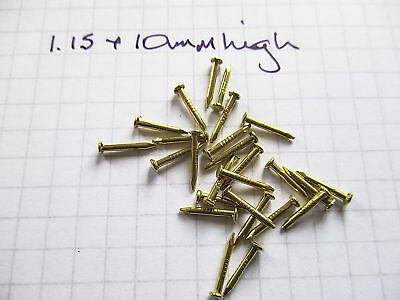 Brass coated Mini Nails Brads 10mm long for wood, leatherwork