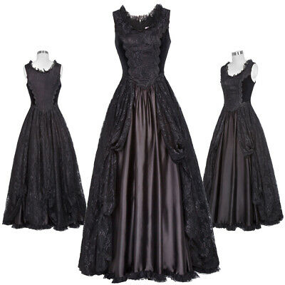 New Victorian Gown Gothic Theater Steampunk Edwardian Lace + Satin+ Velvet Dress