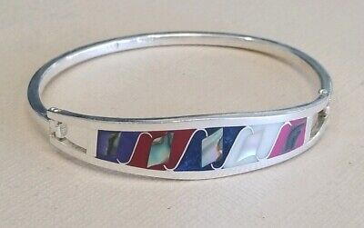VTG Women's Taxco Mexico Sterling Silver Hinged Bracelet Abalone Inlay