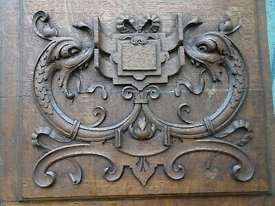 SUPERB 19thC GOTHIC WOODEN OAK PANEL WITH GARGOYLE CARVINGS & OTHER c1880s