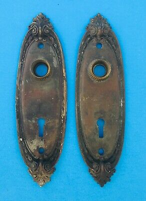 """VINTAGE/ANTIQUE """"BRASS"""" DOOR LOCK PLATES WITH KEY SARGENT&CO. See all pic's"""